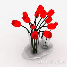 室内红色插花3d模型下载