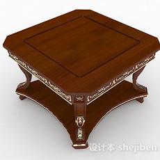 欧式复古木质茶几3d模型下载