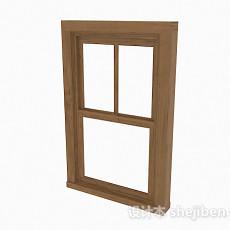 现代风木质上下式推拉窗3d模型下载