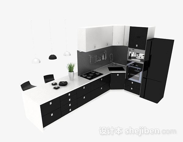 黑色L型厨房兼餐厅时尚整体橱柜