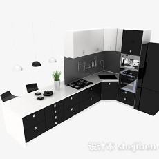 黑色L型厨房兼餐厅时尚整体橱柜3d模型下载
