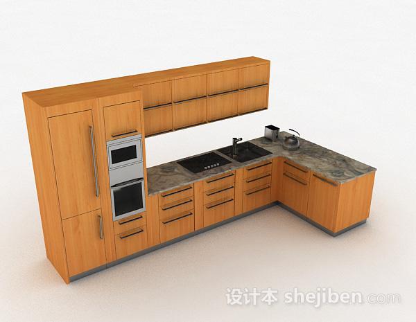 棕色木质L型整体橱柜