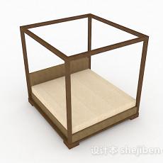 简约木质双人床3d模型下载