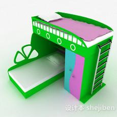 绿色儿童床上下床3d模型下载