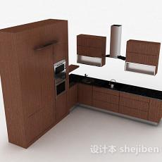 现代风格棕色花纹时尚整体橱柜3d模型下载