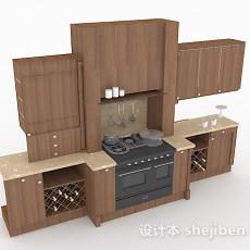 现代风格棕色木质整体橱柜3d模型下载