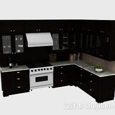 黑色L型上下式整体橱柜3d模型下载