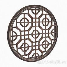 中式风格圆形镂空花纹窗户3d模型下载