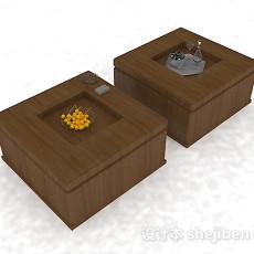 棕色木质小茶几组合3d模型下载