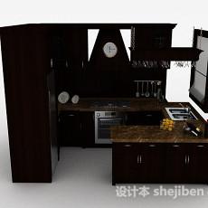 欧式木质小空间整体橱柜3d模型下载