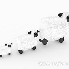 白色家庭组合绵羊生活摆件3d模型下载