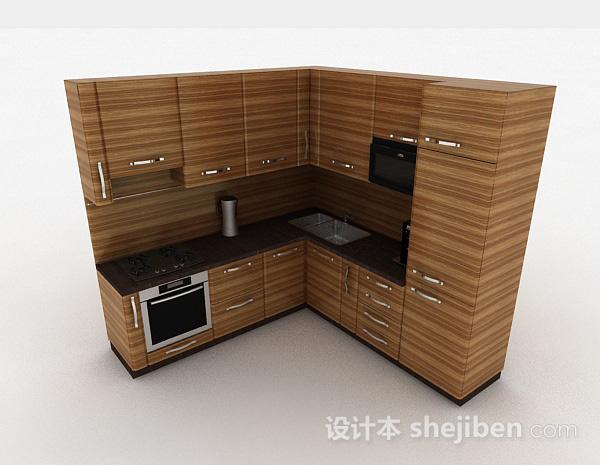 现代风格棕色条纹L型上下层时尚橱柜