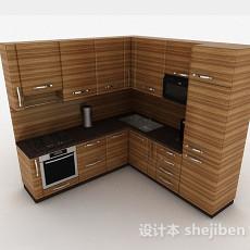 现代风格棕色条纹L型上下层时尚橱柜3d模型下载