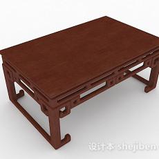 中式棕色木质茶几3d模型下载