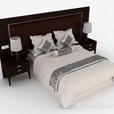 家居白色双人床3d模型下载