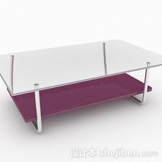 紫色玻璃简约茶几3d模型下载