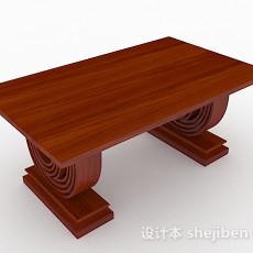 红棕色木质餐桌3d模型下载