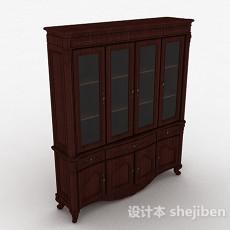 新中式木质书柜3d模型下载