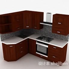 现代L式木质整体橱柜3d模型下载