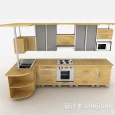 现代时尚米黄色L型整体橱柜3d模型下载