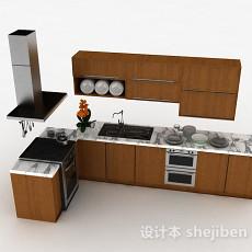 棕色L型上下2层整体橱柜3d模型下载