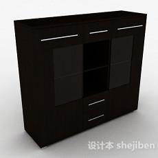 棕色简约木质书柜3d模型下载