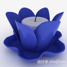 蓝色莲花状烛台3d模型下载