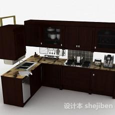 深棕色L型木质整体橱柜3d模型下载