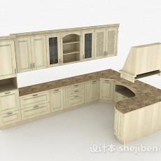 北欧风格米色L型整体橱柜3d模型下载