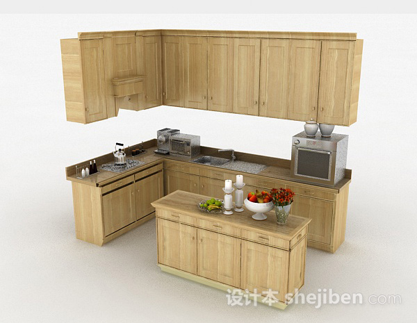 简约木质L型整体橱柜