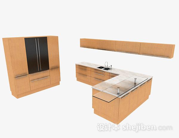现代时尚L型米白色整体橱柜