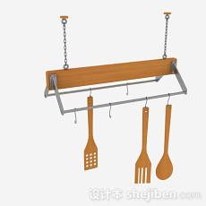 最新带铁链厨具悬挂架3d模型下载