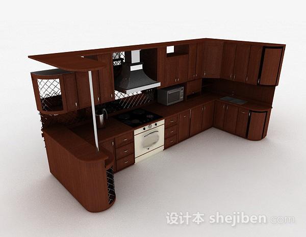 欧式风格棕色U字形上下层整体橱柜