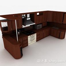 欧式风格棕色U字形上下层整体橱柜3d模型下载