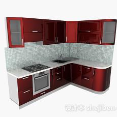 现代红色橱柜3d模型下载