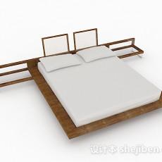 榻榻米木质双人床3d模型下载