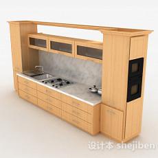 现代风格原木色上下式一体橱柜3d模型下载