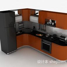 棕色上下层L型时尚整体橱柜3d模型下载