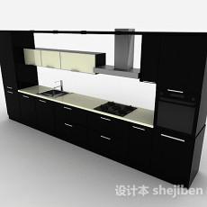 现代风格黑色一字型上下层整体橱柜3d模型下载