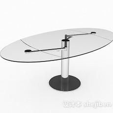 椭圆形玻璃餐桌3d模型下载