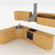 现代风格原木色L型上下式整体橱柜3d模型下载