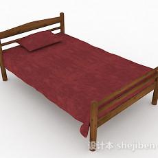 红色木质单人床3d模型下载