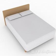 简约白色双人床3d模型下载