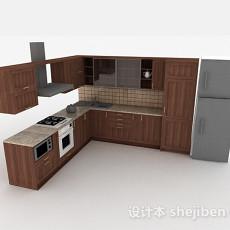 现代风格棕色时尚L型橱柜3d模型下载