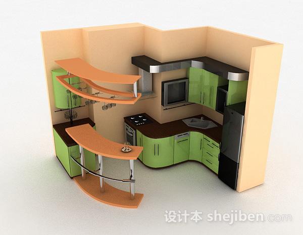 嫩绿色现代风格时尚整体橱柜