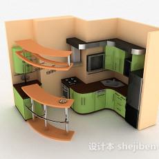 嫩绿色现代风格时尚整体橱柜3d模型下载