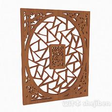 中式木质镂空雕花窗户3d模型下载