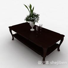 简约木质棕色茶几3d模型下载
