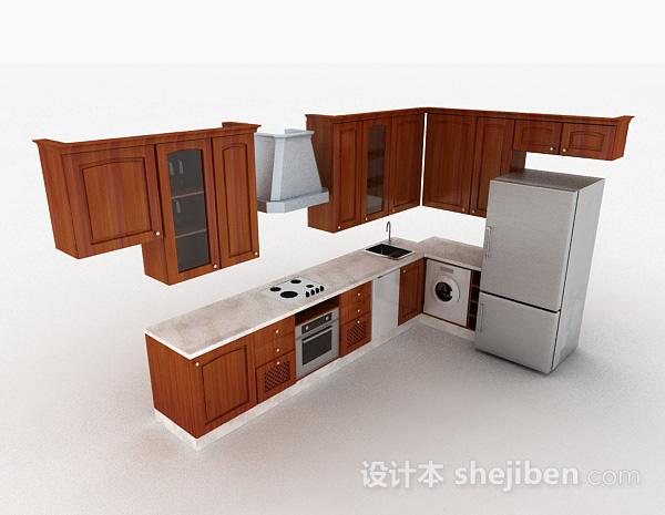 现代风格棕色L型时尚整体橱柜
