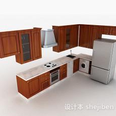 现代风格棕色L型时尚整体橱柜3d模型下载